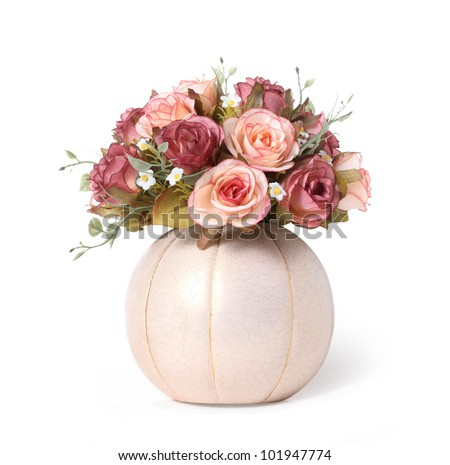fake pink rose flower isolated on white background