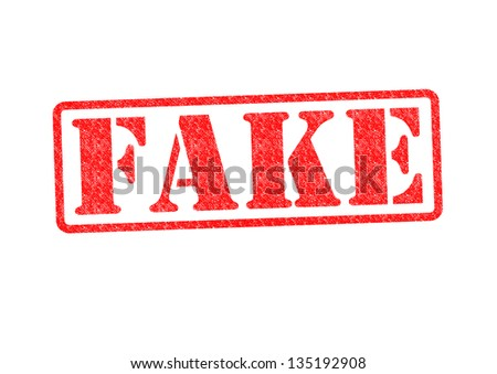 FAKE Rubber Stamp over a white background.