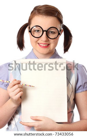 Fake teenage geek holding notepad and pencil.