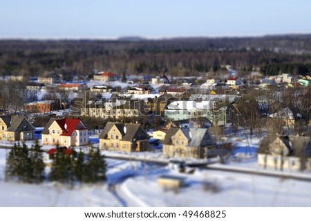 Faked tilt shift city in estonia - stock photo