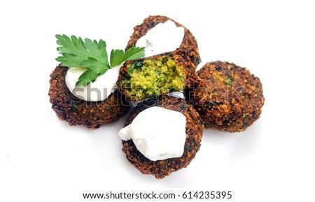 Falafel balls on white background