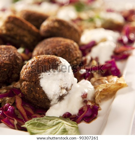 Falafel dish with red cabbage and onions - stock photo