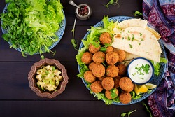 Falafel, hummus and pita. Middle eastern or arabic dishes on a dark background. Halal food. Top view. Copy space