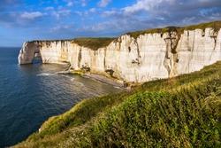 Falaise d'Amont cliff at Etretat, Normandy, France, Europe