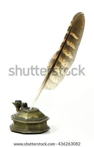 falcon quill pen and inkwell isolated on white background #436263082
