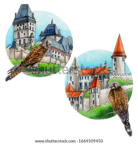 Falcons on the background of Castles. Medieval buildings for knights of the Czech Republic ancient castles of old Prague architectural construction hand drawn set. Castle with a tower,  illustration