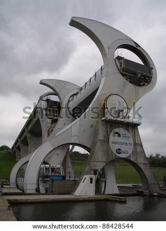 FALKIRK, SCOTLAND - OCTOBER 18:View of the Falkirk Wheel on October 18, 2010 in Falkirk, Scotland. The Falkirk Wheel is a rotating boat lift located in Scotland, UKl, opened in 2002.