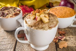 Fall and winter sweet dessert.  Traditional Autumn Cakes, Microwave Mug Pies -  Mug Pumpkin Pie, Apple Crumble Crisp Pie, Pecan Mug Cake