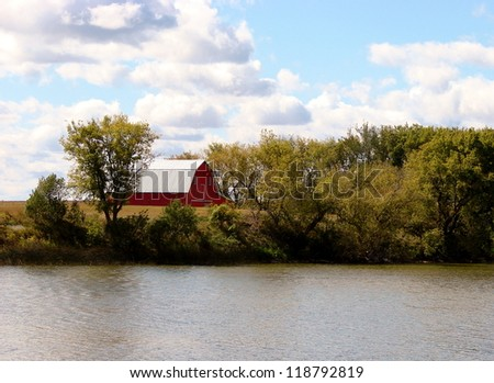 fall autumn leaves trees red barn