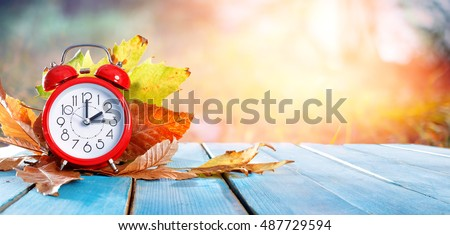 Fall Back Time - Daylight Savings End - Return To Winter Time  #487729594