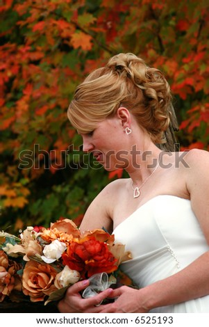 Fall background for this beautiful bride on her wedding day.