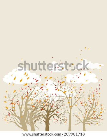 Fall background with trees and flying leaves. Place for text. Raster version.