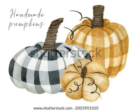 Fall checkered handmade pumpkin arrangement clipart for thanksgiving greeting cards, invitations, wall art, signs, hand drawn autumn clip art