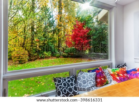 Fall color and leaves on the grass from large picture window