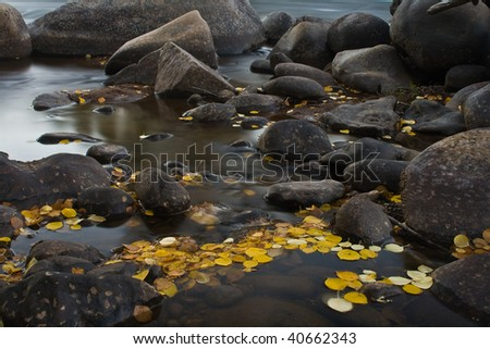 Fall Color Stream. Long exposure to capture glassy smooth water