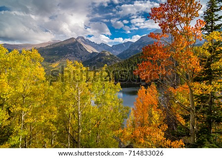 Fall colors and Longs Peak above Bear Lake in Rocky Mountain National Park Stock photo ©