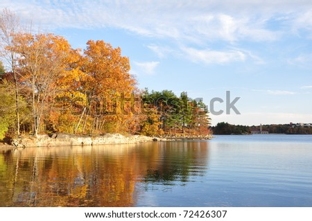 Fall colors at Spot Pond in Massachusetts