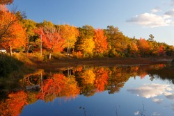 Fall colors in Acadia National Park with brilliant colorful trees reflected in water
