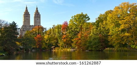 Fall Colors in Central Park Landscape - New York City