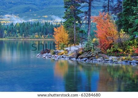 Fall colors in Pyramid Lake, Jasper national park,  Alberta