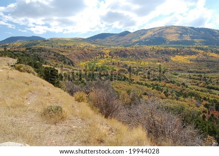 Fall colors in the Manti-La Sal National Forest, Utah - stock photo