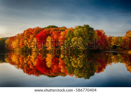 Fall Colors Reflecting in a pOnd #586770404
