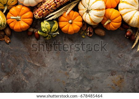 Fall copy space with pumpkins, nuts, wheat and corn