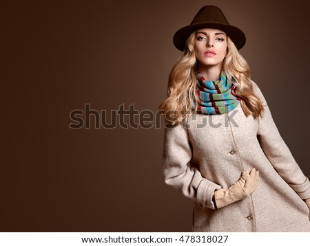 fall fashion. model woman in...