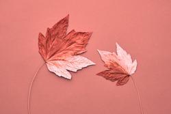 Fall Fashion, Vintage. Maple Leaf Couple. Autumn Arrives. Minimal, Vanilla Pastel Background. Design Art Concept, Creative Sweet Style.