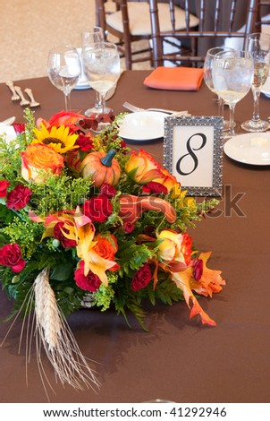stock photo Fall Floral Centerpiece at Wedding or Event