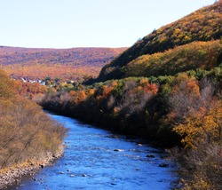 fall foilage along the lehigh river jim thorpe pa