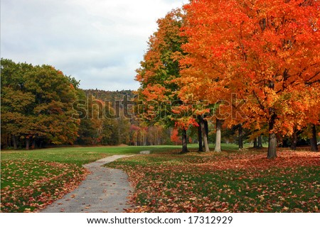 Fall foliage along pathway with golf course fairway in background.