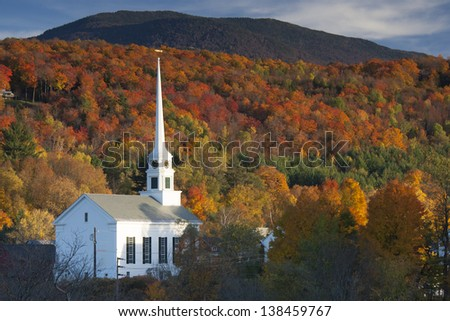 Fall Foliage and the Stowe Community Church, Stowe, Vermont, USA #138459767