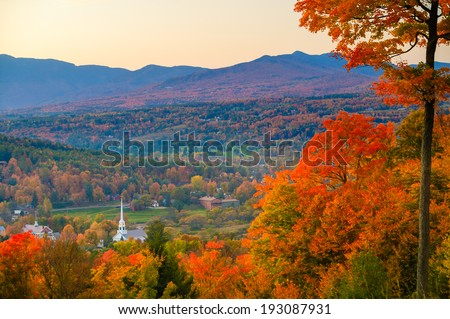 Fall Foliage and the Stowe Community Church, Stowe, Vermont, USA #193087931
