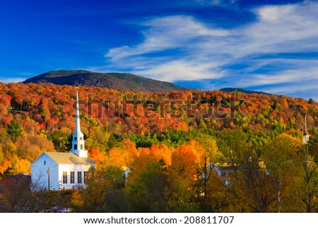 Fall Foliage and the Stowe Community Church, Stowe, Vermont, USA #208811707