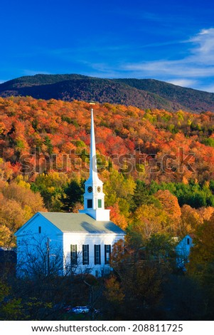 Fall Foliage and the Stowe Community Church, Stowe, Vermont, USA #208811725