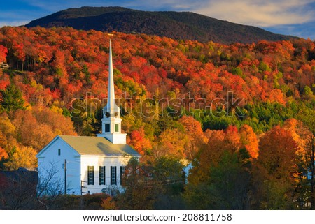 Fall Foliage and the Stowe Community Church, Stowe, Vermont, USA #208811758