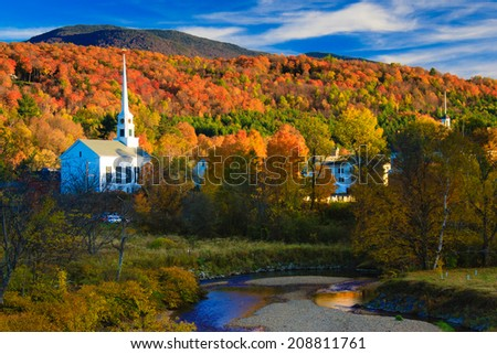 Fall Foliage and the Stowe Community Church, Stowe, Vermont, USA #208811761