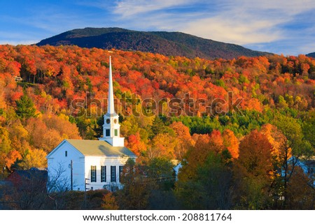 Fall Foliage and the Stowe Community Church, Stowe, Vermont, USA #208811764