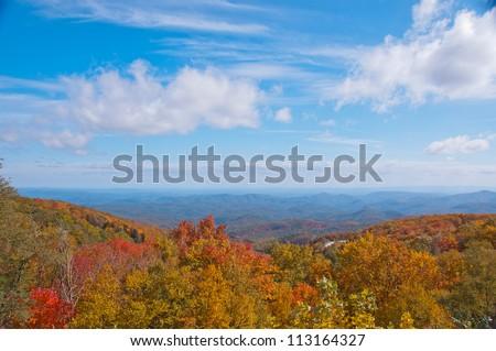 Fall foliage, North Carolina. A scenic overlook on the Blue Ridge Parkway with colorful Fall foliage.