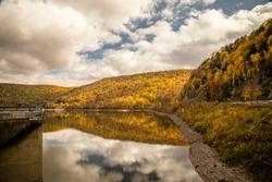 Fall foliage reflection on Kinzua Lake, Allegheny Reservoir, Allegheny National Forest, Pennsylvania.
