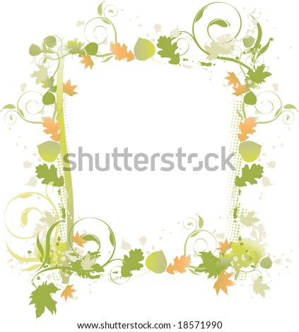 Fall green and brown leaf and vine swirl border - stock photo