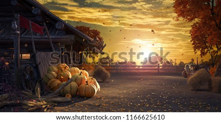 Fall in backyard with leaves falling from trees and pumpkins, autumn background 3D Rendering, 3D Illustration