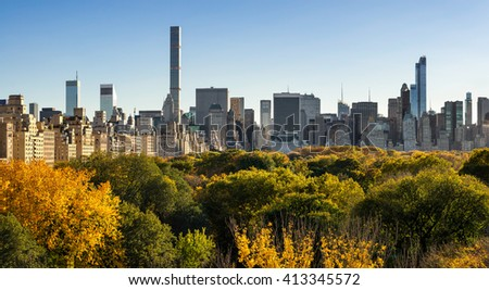 Fall in Central Park with Midtown skyscrapers and high-rise buildings of the Upper East Side. New York City