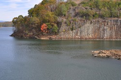 Fall landscape of granite rockface mountain with Autumn colors