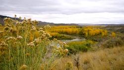Fall landscape, scenic lake view. American prairie, Montana