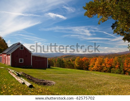 Fall leaves add color to a bright Vermont rural scene in the Fall