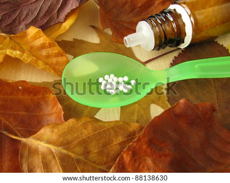 Fall leaves and homeopathic pills