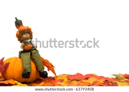 Fall leaves with a pumpkin and a scarecrow isolated on a white background, Fall Scene