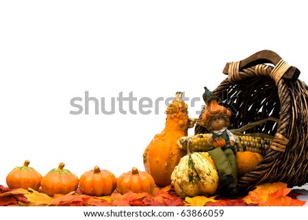Fall leaves with a pumpkins, gourds and a basket isolated on a white background, Fall Scene